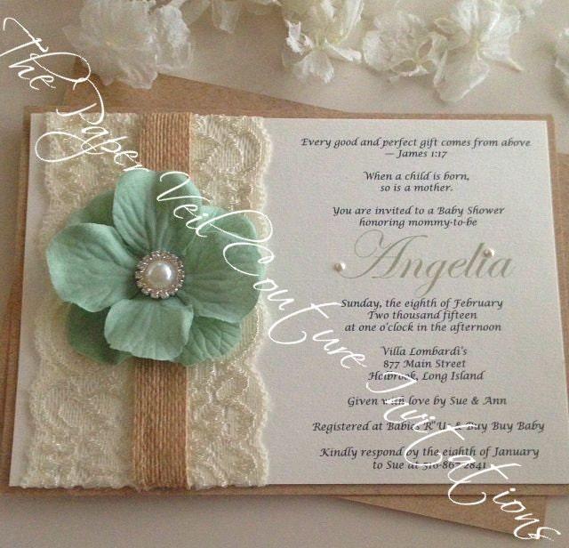 Rustic Vintage Garden Lace Collection Invitation Burlap