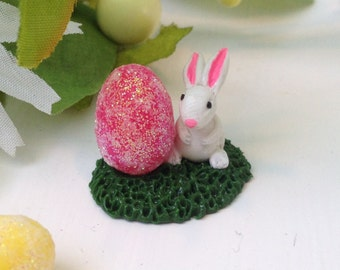 Miniature Woodland Easter Bunny with Pink Easter Egg Collectable Fairy Garden Terrarium Sculpture