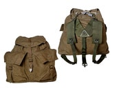 1950s Vintage Czech Army Backpack Khaki Canvas Rucksack Harness New Hiking Retro