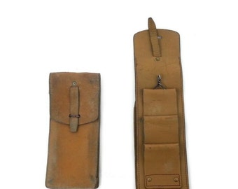 Vintage 1950s/60s Thick Leather Belt Pouch Tan French Army  Magazine Long Pouch