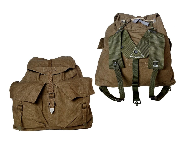1950s vintage czech army backpack khaki canvas rucksack. Black Bedroom Furniture Sets. Home Design Ideas