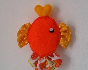 Hanging felt and fabric fish - orange/yellow
