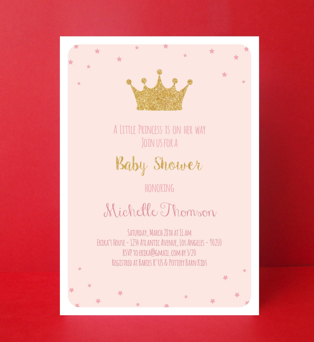 Princess Baby Shower Invitation Girl Baby By PaperPartyDesign