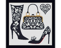 Shoes And Bags Obsession Counted Cross Stitch Pattern in PDF for Instant Download