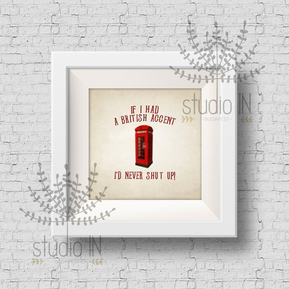 Wall decor print - Funny quote print, phone box, red phone box print ...