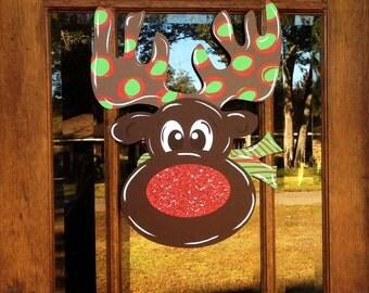 Christmas Door Hanger, Reindeer Christmas Door Hanger, Rudolph Door Hanger, Holiday Door Hanger, Christmas Door Wreath, Glitter Door Hanger
