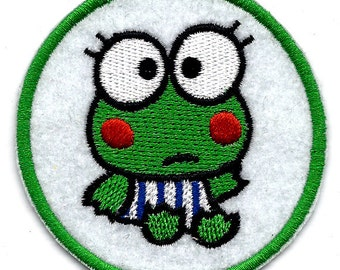KEROPPI the green frog ~ big eyes ~ Sanrio Embroidered Iron On / Sew On Patch