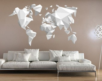 Origami World Map Sticker - Origami Decals - Origami Stickers - Also available as Poster