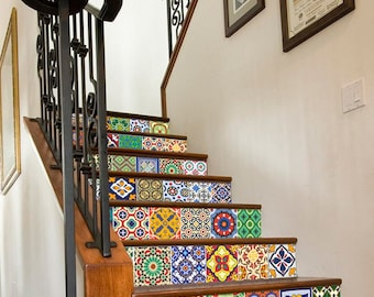Talavera Tiles   Staircase   Tile Decals   Tile Sticker   Stair Riser    Wall Tiles