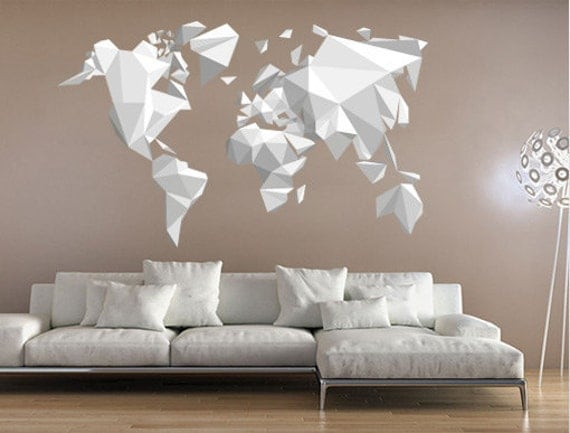 Origami World Map Sticker Origami Decals Origami Stickers
