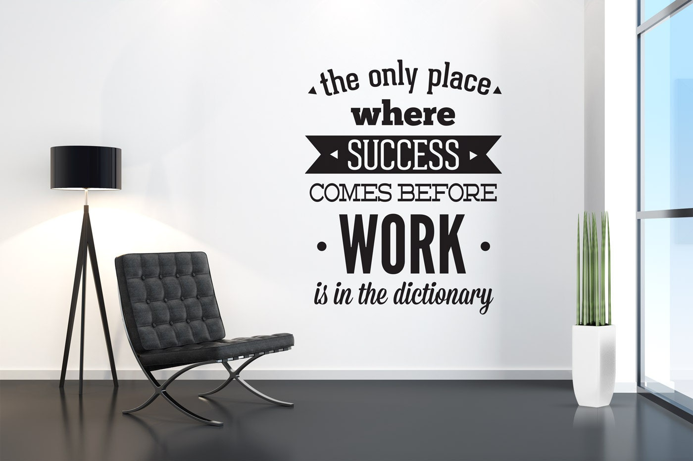 Bedroom Design Ideas For Men Office Decor Success Come Before Work Typography Stickers