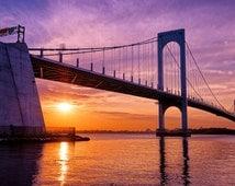 Purple Skies, Whitestone Bridge, Queens NY - Fine Art Print