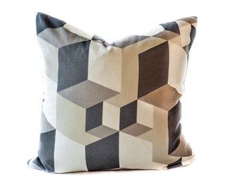 Mid-century modern pillow cover - Black Cream pillow - Geometric pillow -Modern pillow - Cube pillow - Contemporary pillow