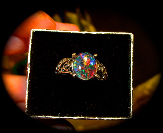 Engagement ring Genuine Australian Natural Opal by AmyKJewels