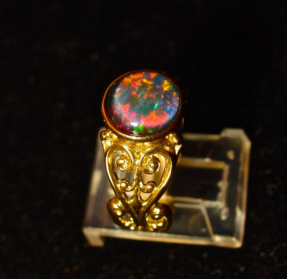 14K Gold Natural Opal Engagement ring Genuine by AmyKJewels
