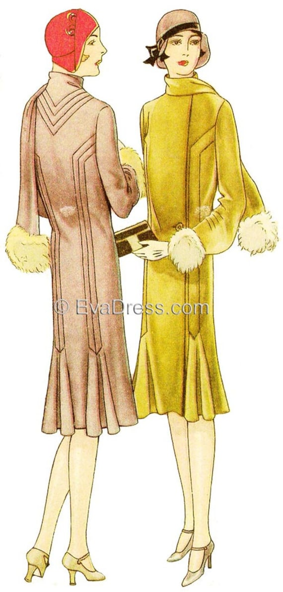 1920s Patterns – Vintage, Reproduction Sewing Patterns 1929 Coat with Pin Tucks & Godets Mulit-size Pattern by EvaDress1929 Coat with Pin Tucks & Godets Mulit-size Pattern by EvaDress $24.00 AT vintagedancer.com
