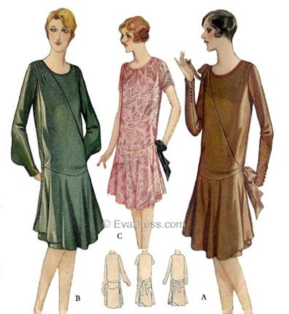 1920s Patterns – Vintage, Reproduction Sewing Patterns 1927 Dress with Over Skirt Multi-size Pattern by EvaDress $25.00 AT vintagedancer.com