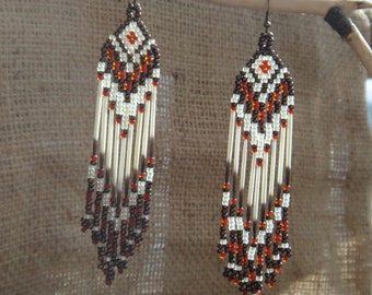 Porcupine quills earrings. Beaded with fringes. Native american earring. Nature inspired. Native jewelry