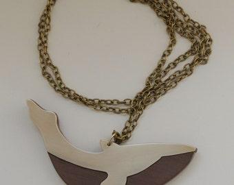 Brass and Walnut Whale Necklace