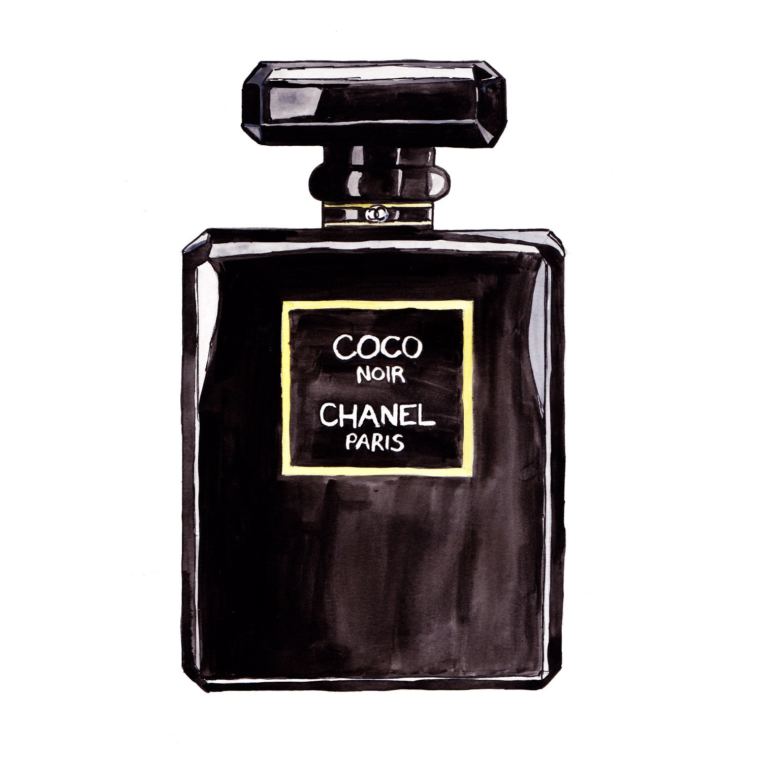 CHANEL NOIR: Hand Painted CHANEL Perfume Bottle Fashion by HOBBRY