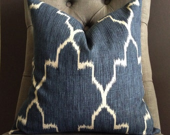 Pillow Cover, Navy Blue Ikat Pillow Cover, PORTER