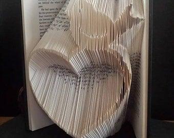 Heart with a bird Book folding pattern