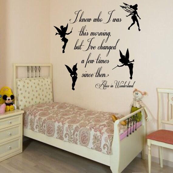 Tinkerbell Wall Decals Alice In Wonderland By Decalmyhappyshop