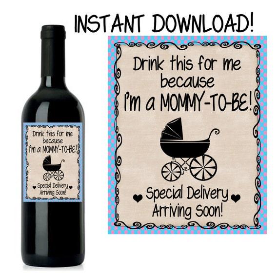 Pregnancy Announcement Baby Announcement Wine Bottle Label
