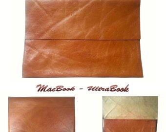 specialfilters  macbook ultrabook POUCH HAND CRAFTED genuine havana leather and nubuck recycled