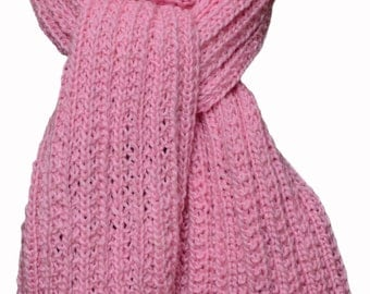 Hand Knit Scarf - Pink Sugar Coated Silky Merino Trail Ridge Rib
