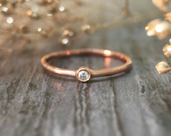 0.03CT Diamond Solitaire <Bezel> Solid 14K Rose Gold (14KR) Stackable Ring *Fine Jewelry* (Free Shipping)
