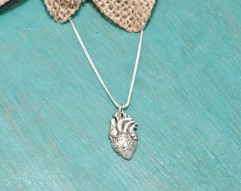 SALE  •••  STERLING SILVER ••• Anantomical heart necklace | Sterling silver heart necklace | Anatomically Correct Heart necklace