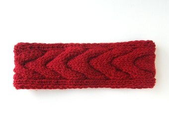 Burgundy Cable Knit Head Band
