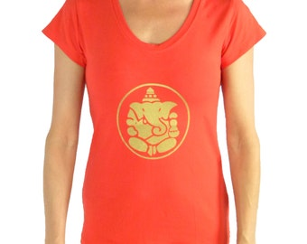 Ganesha T-Shirt - Lycra Yoga Ganesha Shirt - Ganesha Womans Meditation Top - Relax Fit Tshirt - Soft Yoga T-Shirt - WE3