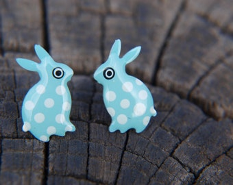 Retro Earrings, Handpainted Studs, Animal Stud Earrings,  Pole Stud Polka Dot Jewelry, Rabbit Earrings, Bunny Earrings, Easter Earrings