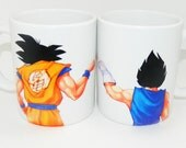 DBZ - Goku and Vegeta Fist Bump Ceramic Coffee Mugs!
