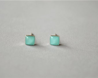Tiny mint square stud earrings, sterling silver post and back (D166)