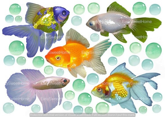 Fliesenaufkleber fische aquarell kachelaufkleber fliesen folie aufkleber 8stk xl - Fliesenaufkleber fische ...