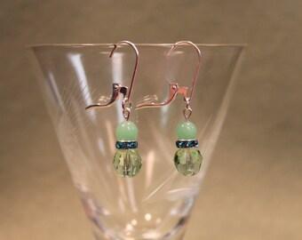 Jadite Green Rhinestone Earrings