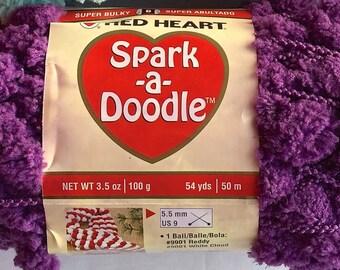 ICED GRAPE Spark-a-Doodle Yarn by Red Heart Iced Grape 3.5oz / 100g  54 yds / 50m  Pom Pom Yarn
