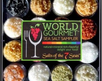 The WORLD Gourmet Sea Salt Sampler 16 All Natural Salts from around the world. BEST SELLER!