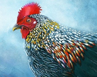 Chicken watercolor painting - Art Print. Nature Illustration. Bird watercolor Print. Country decor. Kitchen decor