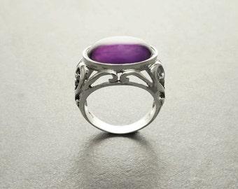 Boho Amethyst Ring - Sterling Silver Ring - Genuine Amethyst - Boho Ring - Filigree Ring - Hipster Ring - Gemstone Ring - Victorian Ring
