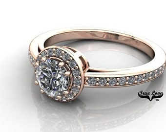 Moissanite Engagement Ring 14kt Rose Gold, Forever One, Wedding Ring, Halo, Side Diamonds #6930