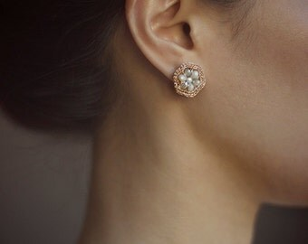 BEADED HEXAGON earrings / peach & beige crystal stud earrings / allergy free / gift for her