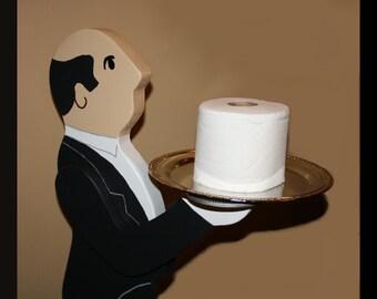 Toilet Paper Holder Butler Waiter W Tray Funny
