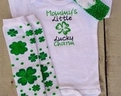 St. Patrick's Day Onesie, Baby onesie, Mommy's Little Lucky Charm, baby girl embroidered onesie 3 piece outfit