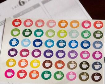 48 coffee stickers, tea teacup cup, bewerage planner stickers, scrapbook sticker, eclp filofax happy planner kikkik
