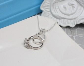 Circle Ring Holder Necklace, Round Ring Saver Necklace, Sterling Silver Ring Holding Necklace