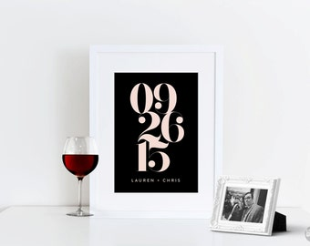 Printable Wedding Date Art - Bold Numbers - Wedding Gift - Digital File Only - 8x10
